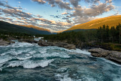 Bezludzie Norwegia, Hogfossen rzeka Obraz Stock