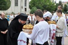 Bezoek aan Chortkiv-Hoofdstukkerk Sviatoslav Shevchuk _6 Stock Afbeeldingen