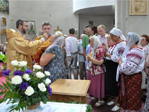 Bezoek aan Chortkiv-Hoofdstukkerk Sviatoslav Shevchuk _16 Stock Foto
