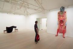 Bezoeker bij kunsttentoonstelling bij de Saatchi-galerij in Londen royalty-vrije stock foto