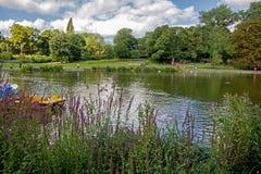 Bezoekers bij meer in park, Birmingham, Engeland royalty-vrije stock foto's