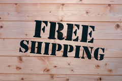 bezpłatna wysyłka Bezpłatny wysyłki słowo na drewnianym transportu pudełku Bezpłatny wysyłka pakunek Obrazy Stock