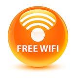Bezpłatnego wifi szklisty pomarańczowy round guzik Fotografia Stock