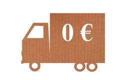 Bezpłatny doręczeniowy pojęcie z kartonową ciężarówką obrazy royalty free