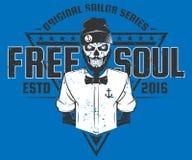 Bezpłatny dusza żeglarza stylu projekt druk dla T koszula Zdjęcia Royalty Free
