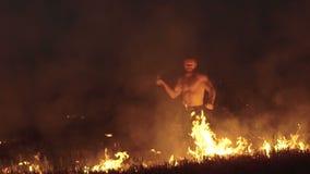Bezpłatny myśliwski szkolenie z kordzikiem w płonącym nocy polu wolno zdjęcie wideo