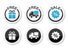 Bezpłatny prezent, bezpłatna dostawa, sprzedaży etykietki ustawiać Zdjęcie Stock