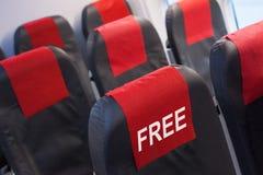 Bezpłatny siedzenie w samolocie, linia lotnicza oferuje pojęcie obrazy stock