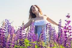 Bezpłatna kobieta w polu lupines Obrazy Royalty Free