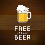 Bezpłatny wifi i wielki piwo Obrazy Stock