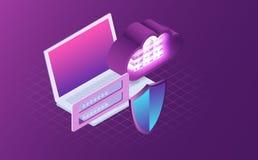 Bezpieczeństwa komputerowego i dane ochrony pojęcie Cyfrowego ochrona danych, prywatność 3d laptop z osłoną ilustracja wektor