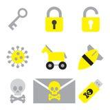 Bezpieczeństwo komputerowe ikony mieszkania ustalony styl 2 Obrazy Royalty Free