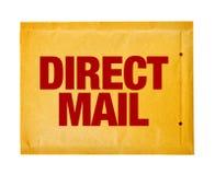 Bezpośredniej poczta pocztowa koperta na białym tle Zdjęcia Royalty Free