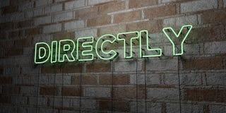 BEZPOŚREDNIO - Rozjarzony Neonowy znak na kamieniarki ścianie - 3D odpłacająca się królewskości bezpłatna akcyjna ilustracja ilustracja wektor