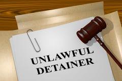 Bezprawny Detainer pojęcie ilustracji