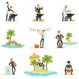 Bezprawny pranie brudnych pieniędzy I Używać Offshores serie ilustracje Z Skorumpowanym biznesmenem Myje Brudnego pieniądze ilustracji
