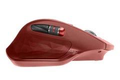 Bezprzewodowa komputerowa mysz Czerwony kolor pojedynczy białe tło Obrazy Royalty Free