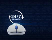 Bezprzewodowa komputerowa mysz z guzikiem 24 godziny usługuje ikonę nad c Zdjęcia Stock