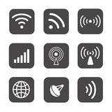 Bezprzewodowe ikony ustawiają białe sylwetki na czerni Fotografia Royalty Free