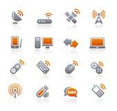 bezprzewodowe teletechniczne grafitowe ikony