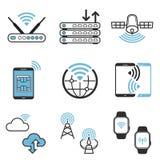 Bezprzewodowej networking technologii projekta ikony wektorowy set obrazy royalty free