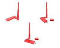 BEZPRZEWODOWY USB adaptator (czerwień) Fotografia Stock