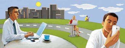 Bezprzewodowy związek Ludzie pracują daleko na zewnątrz biura Miastowy pastoralny ilustracja wektor
