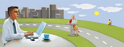 Bezprzewodowy związek Ludzie pracują daleko na zewnątrz biura Miastowy pastoralny royalty ilustracja