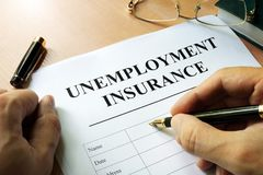 Bezrobocia ubezpieczenia forma zdjęcia stock