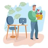 Bezrobocie, kryzys, bezrobotny mężczyzna ilustracji