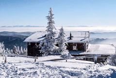 Bezrucova chata chalet on Lysa hora hill in Beskids mountains during winter Stock Photography