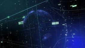 Bezszwowa animacja globalnego biznesu sieć Ziemia wiruje w przestrzeni royalty ilustracja