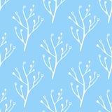 Bezszwowa błękitna i biała ręka rysująca, doodle, kwiecisty wektoru wzór dla tła, tło Skandynaw, etniczny styl Fotografia Royalty Free