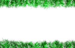 Bezszwowa boże narodzenie zieleni srebra świecidełka rama pojedynczy białe tło Fotografia Royalty Free
