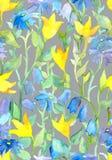 Bezszwowa częstotliwa kwiecista tapeta z ogrodowymi kwiatami akwarela Zdjęcie Royalty Free