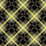 Bezszwowa czarna i żółta przekątna wyszczególniający szkocka krata tartanu gingham tkaniny wzór royalty ilustracja