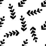 Bezszwowa czarny i biały ręka rysująca, doodle, kwiecisty wektoru wzór dla tła, tło Skandynaw, etniczny styl Obrazy Royalty Free