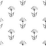 Bezszwowa czarny i biały ręka rysująca, doodle, kwiecisty wektoru wzór dla tła, tło Skandynaw, etniczny styl Obraz Royalty Free
