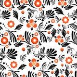 Bezszwowa czerwień i czerń kwitniemy liście kwiecistych ilustracji