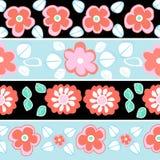 Bezszwowa czerwień, błękitny kwiatu wzór Zdjęcia Stock