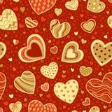 Bezszwowa czerwień i złocisty romantyczny wzór Zdjęcia Royalty Free
