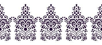 Bezszwowa dekoracyjna kwiecista granica dla ram Klasyk, starego stylu ilustracja Rocznik koronki ornament ręka patroszona ilustracja wektor