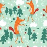 Bezszwowa deseniowa dziecko moda Czerwoni lisy chodzą w czarodziejskim lesie las haliźnie i Tło dla dziecko pokoju, książki, tkan ilustracji