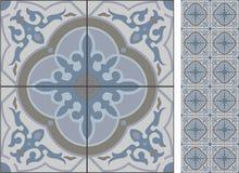 Bezszwowa deseniowa ilustracja w tradycyjnym stylu jak Portugalskie płytki Obrazy Royalty Free