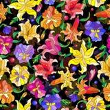 Bezszwowa deseniowa ilustracja z abstraktem kwitnie leluje i pansies Obrazy Royalty Free