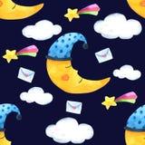 Bezszwowa Deseniowa księżyc i chmura dla Pakować, druk tkanina Akwarela ręka rysujący wizerunek Perfect dla skrzynek projekt, poc royalty ilustracja