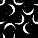 Bezszwowa deseniowa księżyc i gwiazdy Fotografia Royalty Free