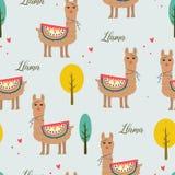 Bezszwowa deseniowa piękna lama z drzewem i miłością royalty ilustracja