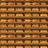 Bezszwowa deseniowa piekarni półka z chlebem w supermarkecie, duży wybór świeża produkt sprzedaż w karmowego sklepu wnętrzu, skle Obraz Royalty Free