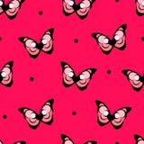 Bezszwowa deseniowa polki kropka z abstrakcjonistycznym motylem na czerwonym tle wektor Obraz Stock